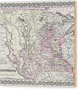 1855 Colton Map Of Minnesota Wood Print