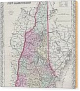 1855 Colton Map Of New Hampshire Wood Print