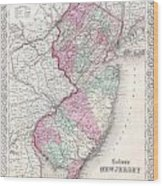 1855 Colton Map Of New Jersey Wood Print