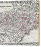 1855 Colton Map Of North Carolina Wood Print