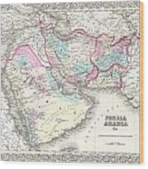 1855 Colton Map Of Persia Afghanistan And Arabia Wood Print