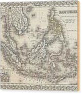 1855 Colton Map Of The East Indies Singapore Thailand Borneo Malaysia Wood Print