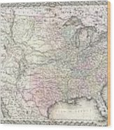 1855 Colton Map Of The United States  Wood Print