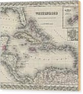 1855 Colton Map Of The West Indies Wood Print