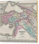 1855 Colton Map Of Turkey Iraq And Syria Wood Print