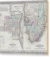 1855 Colton Plan Or Map Of Charleston South Carolina And Savannah Georgia Wood Print