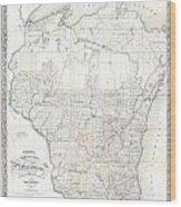 1856 Chapman Pocket Map Of Wisconsin Wood Print