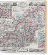 1856 Colton Pocket Map Of New England And New York Wood Print