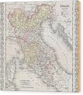 1856 Desilver Map Of Northern Italy Wood Print