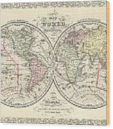 1856 Desilver Map Of The World  Wood Print