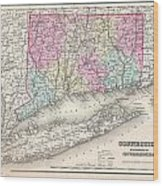 1857 Colton Map Of Connecticut And Long Island Wood Print