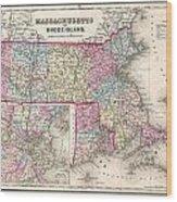 1857 Colton Map Of Massachusetts And Rhode Island Wood Print