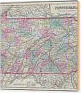 1857 Colton Map Of Pennsylvania Wood Print