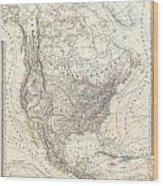 1857 Dufour Map Of North America Wood Print