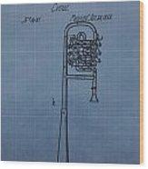 1858 Trumpet Patent Wood Print