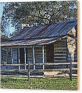 1860 Log Cabins Wood Print by Linda Phelps
