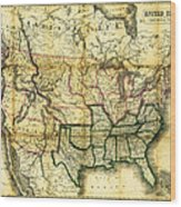 1861 United States Map Wood Print
