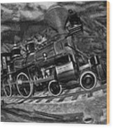 1862 Gov. Stanford First Locomotive Black And White Wood Print