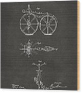 1866 Velocipede Bicycle Patent Artwork - Gray Wood Print by Nikki Marie Smith