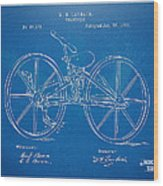 1869 Velocipede Bicycle Patent Blueprint Wood Print