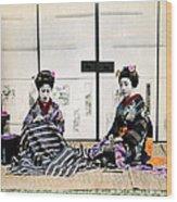 1870 Japanese Geisha In Drawing Room Wood Print