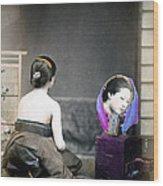1870 Japanese Woman In Her Dressing Room Wood Print