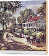 1870s 1800s A Home On The Mississippi - Wood Print
