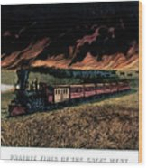 1870s Prairie Fires Of The Great West - Wood Print