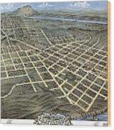 1871 Birds Eye Map Of Chattanooga Wood Print