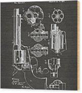 1875 Colt Peacemaker Revolver Patent Artwork - Gray Wood Print