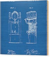 1876 Beer Keg Cooler Patent Artwork Blueprint Wood Print
