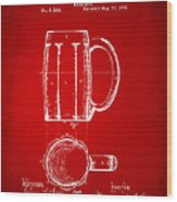 1876 Beer Mug Patent Artwork - Red Wood Print