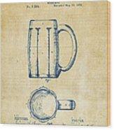 1876 Beer Mug Patent Artwork - Vintage Wood Print