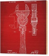 1878 Adjustable Wrench Patent Artwork - Red Wood Print