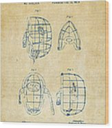 1878 Baseball Catchers Mask Patent - Vintage Wood Print by Nikki Marie Smith