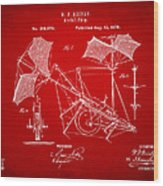 1879 Quinby Aerial Ship Patent - Red Wood Print