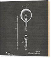 1880 Edison Electric Lamp Patent Artwork - Gray Wood Print