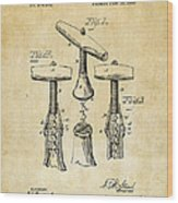 1883 Wine Corckscrew Patent Art - Vintage Black Wood Print