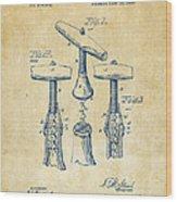 1883 Wine Corckscrew Patent Artwork - Vintage Wood Print