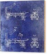 1885 Roller Skate Patent Drawing Blue Wood Print
