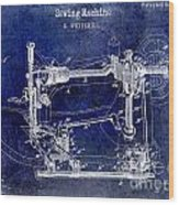 1885 Sewing Machine Patent Drawing Blue Wood Print