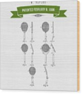 1886 Tennis Racket Patent Drawing - Retro Green Wood Print