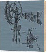 1889 Windmill On Blue Wood Print