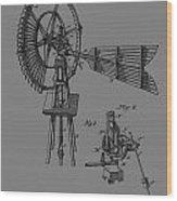 1889 Windmill Patent Wood Print