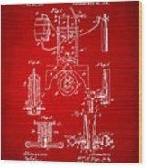 1890 Bottling Machine Patent Artwork Red Wood Print
