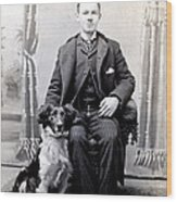 1890 Gentleman And His Dog Wood Print by Historic Image