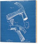 1890 Hammer Patent Artwork - Blueprint Wood Print