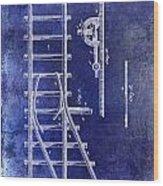 1890 Railway Switch Patent Drawing Blue Wood Print