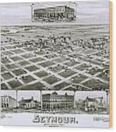 1890 Vintage Map Of Seymour Texas Wood Print
