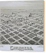 1890 Vintage Map Of Childress Texas Wood Print